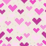 Modelos inconsútiles con los corazones del pixel Foto de archivo libre de regalías