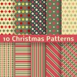 Modelos inconsútiles de diverso vector de la Navidad Imagenes de archivo