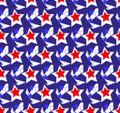 Modelos inconsútiles de la bandera americana de los E.E.U.U. Día de la Independencia, el 4 de julio concepto, repitiendo textura, Imágenes de archivo libres de regalías