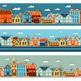 Modelos inconsútiles de la ciudad con la etiqueta engomada colorida linda Imagen de archivo libre de regalías