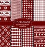 Modelos inconsútiles de la Navidad Sistema del vector Imagenes de archivo