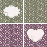 Modelos inconsútiles de la tarjeta del día de San Valentín con los corazones y las rosas Fotos de archivo