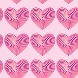 Modelos inconsútiles de los corazones rosados Ilusión óptica 3d tridimensional Fotos de archivo