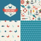 Modelos inconsútiles de símbolos y de la etiqueta marinos Foto de archivo libre de regalías