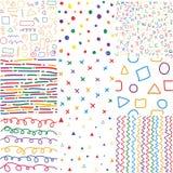 Modelos inconsútiles dibujados mano colorida de los niños stock de ilustración
