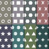 Modelos inconsútiles dibujados mano del garabato fijados Colección hecha a mano de los fondos de las formas geométricas abstracta Imagen de archivo