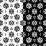 Modelos inconsútiles florales blancos y negros Sistema de fondos Imagen de archivo