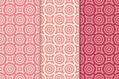 Modelos inconsútiles geométricos rojos con los elementos del círculo Fondo de la materia textil o del papel pintado Fotos de archivo libres de regalías