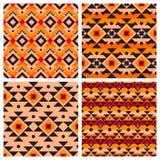 Modelos inconsútiles mexicanos aztecas étnicos geométricos Foto de archivo libre de regalías