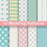 Modelos inconsútiles del vector cariñoso en colores pastel de la boda Imagen de archivo libre de regalías