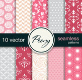 10 modelos inconsútiles del vector Tema floral Foto de archivo libre de regalías