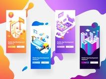 Modelos móveis da tela do respingo do desenvolvimento do App no backgro abstrato ilustração royalty free