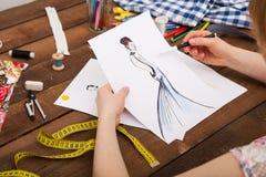 Modelos nuevos del dibujo del diseñador de moda de la ropa Fotografía de archivo libre de regalías
