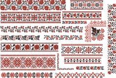 Modelos rojos y negros florales para la puntada del bordado Foto de archivo libre de regalías