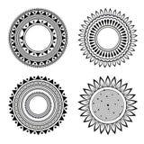 Modelos simétricos blancos y negros de la alheña stock de ilustración
