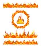 Modelos simples de la frontera del fuego y marco redondo La llama confina vector Foto de archivo
