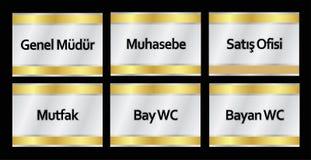 Modelos turcos do signage, ¼ r do dà do ¼ do mà do genel, muhasebe, ofisi do satış, mutfak, wc da baía, wc bayan - tradução: di ilustração do vetor