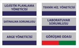 Modelos turcos do signage, ¼ r do dà do ¼ do mà do genel, muhasebe, ofisi do satış, mutfak, wc da baía, wc bayan - tradução: di ilustração royalty free