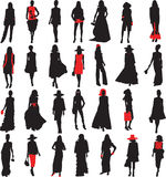 Models 2. Silhouettes girls in fashionable cloth. stylish, beautiful, fashionable, free Stock Photography