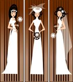 Models in bridal dresses stock illustration
