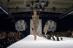 MODELS CAT WALK -MALENE BIGER SHOW Stock Image