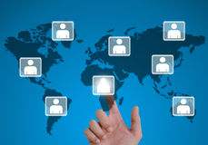 Models connected together in a social network. Hand pointing human models connected together in a social network Stock Photography