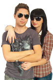 Models couple with sunglasses Royalty Free Stock Images
