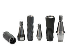 Models of dental titanium implants Stock Image