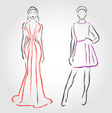 Models in designer outfits Royalty Free Stock Images
