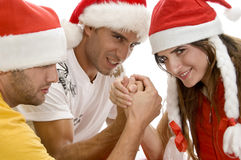 Models doing arm wrestling Royalty Free Stock Photo