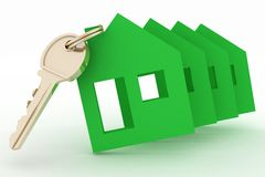 Models ecological houses symbol and key Royalty Free Stock Photo