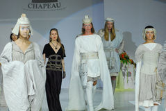 Models in fantasy bionics fashion syyle stock photo