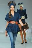 Models on a fashion parade stock photos