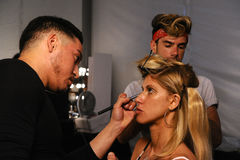 Models getting ready  backstage during KYBOE Spring Summer 2017 Runway accessory show Stock Photo
