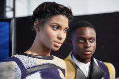 Models getting ready backstage at the New York Life fashion show during MBFW Fall 2015 Stock Photography