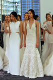 Models getting ready for RIVINI runway Show during Fall 2015 Bridal Collection Royalty Free Stock Photos