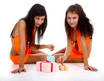 Models with gifts Royalty Free Stock Images