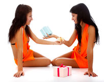 Models with gifts Stock Photography