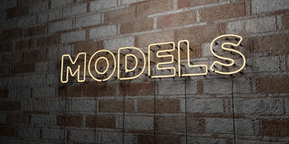 MODELS - Glowing Neon Sign on stonework wall - 3D rendered royalty free stock illustration Royalty Free Stock Photos