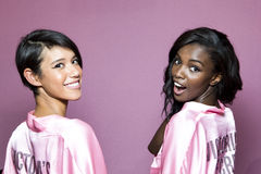 Models Leomie Anderson and  Dilone Altagracia pose backstage prior the 2016 Victoria`s Secret Fashion Show Stock Photos