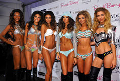 Models lineup backstage at the Beach Bunny fashion show during MBFW Swim 2015 Royalty Free Stock Photos