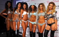 Models lineup backstage at the Beach Bunny fashion show during MBFW Swim 2015 Royalty Free Stock Photo