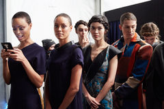 Models lineup backstage at the New York Life fashion show during MBFW Fall 2015 Stock Images