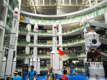 The models of the Long March rockets and Shenzhou. Guangzhou, August 5th: The models of the Long March rockets and Shenzhou spacecraft were on display at Royalty Free Stock Photos