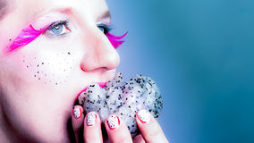 Models meets dragon fruit Stock Images
