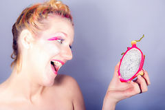 Models meets dragon fruit Stock Photos