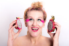 Models meets dragon fruit Royalty Free Stock Photo
