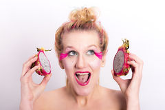 Models meets dragon fruit Stock Photography
