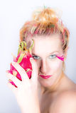 Models meets dragon fruit Royalty Free Stock Images
