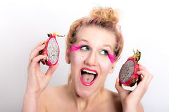 Models meets dragon fruit Stock Photo